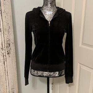 Juicy Couture black velour hoodie sz M